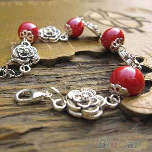 Estilo étnico de las mujeres hecho a mano de cerámica plateado ajustable cadena brazalete enlace pulsera de moda