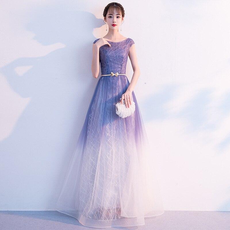 Robe d'été femmes robe dégradé une ligne bleu et blanc longue robe de soirée Haute Couture Noble élégante robe d'anniversaire filles A290