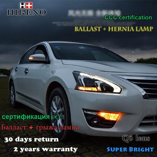 Hireno Headlamp for 2013-2015 Nissan Altima teana Headlight Assembly LED DRL Angel Lens Double Beam HID Xenon 2pcs hireno headlamp for mercedes benz w163 ml320 ml280 ml350 ml430 headlight assembly led drl angel lens double beam hid xenon 2pcs