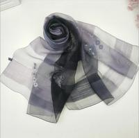 Lã de Seda Cachecol Mulheres Pashmina lenços de seda tecido Floral Preto Natural Tecido Soft & Quente Alta Qualidade Frete Grátis