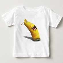 Funny cartoon animation larva child t shirt summer short sleeve Be Adventurous tops Tee boy white Pure cotton clothing MJ