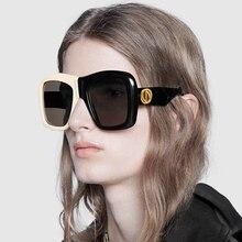 PAWXFB Brand 2019 Oversized Square Sunglasses Women New Trendy Gradient Sun Glasses Cool White-Black Big Frame Eyewear UV00