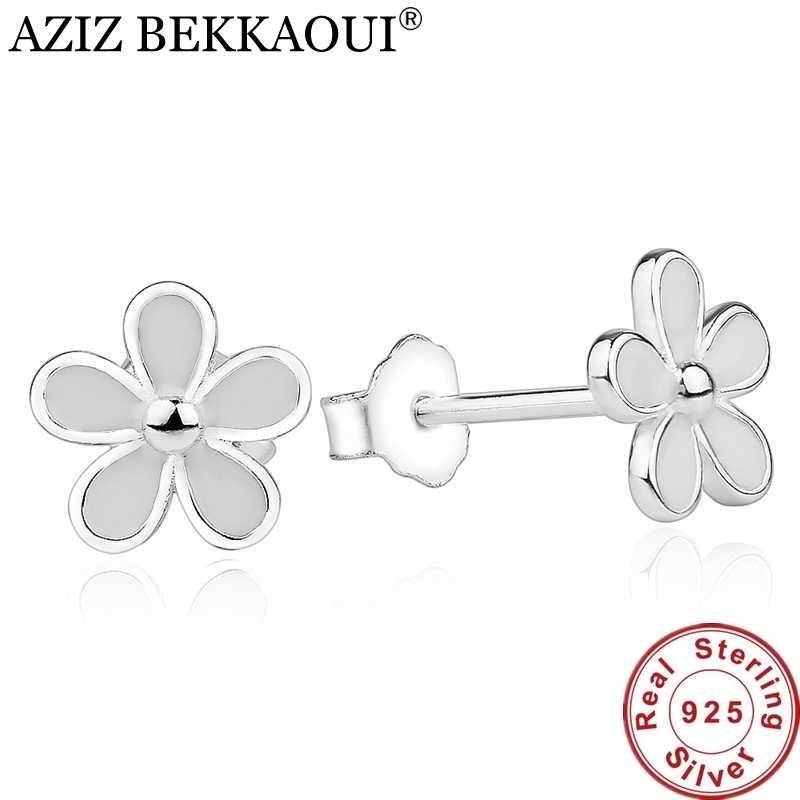 Europäischen Original 925 Sterling Silber Liebling Daisy Stud Ohrringe für Frauen Weiß Emaille Blume Ohrring sterling-silber-schmuck