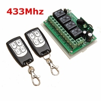 Universal Wireless Remote Control 12V 4CH Channel 433Mhz Switch Integrated Circuit With 2 Transmitter DIY Replace