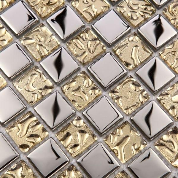 Aliexpress.com : Buy Mosaic tile mirror metal silver 23mm square ...