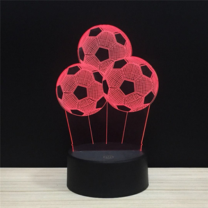 3 Three Football Soccer LED 3D NightLight Acrylic Night Lamp Light Luminary With Touch And Remote Lamps Lights Kids Decoration
