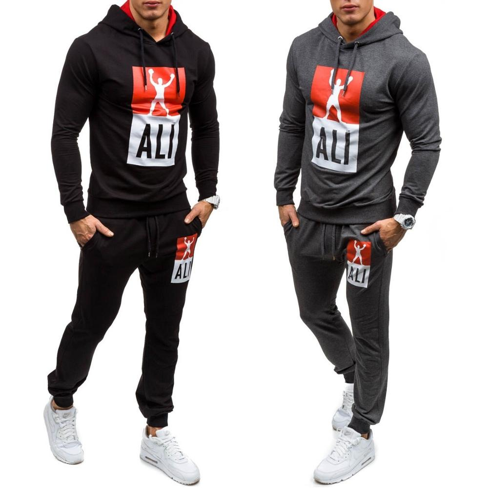 ZOGAA Sweat Suits Men 2 Piece Tops And Pants Jogger Matching Casual Sportswear Mens Tracksuit Gym Sport Fitness Clothing 2019