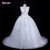 YQLNNE Elegant White Lace Ball Gown Wedding Dresses Bridal Gown V Neck Lace Up Sweep Train