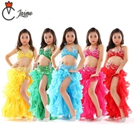 Belly Dance Costume Set for Children 3pcs Bra Belt and Skirts Kids Stage Performance Belly Dancing Clothes Oriental Outfit Girls