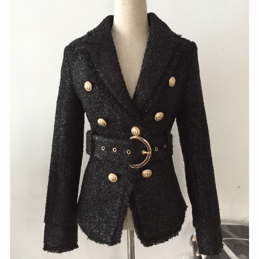 Classic Black Blazer Women 2019 Spring New Slim Double Breasted Tweed Blazer Modis Women Coat