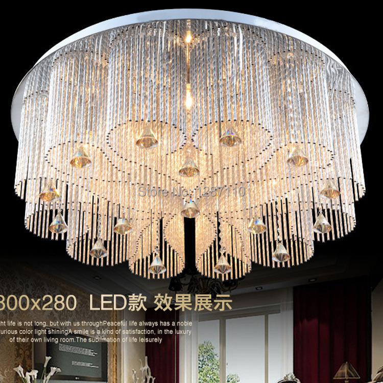 цены luxury E14 LED crystal light ceiling crystal light lamp for living room bedroom round LED lamparas de techo with remote control