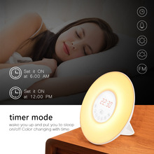 цена на Colorful Touch Sensing Sunrise Sunset LED Wake Up Lights With FM Radio Digital Alarm Clock Night light Snooze Mode Nature Sound