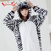 L G TOP NIEUWE HOT Zebra Adult Pyjama Cosplay Cartoon Animal Onesie Nachtkleding Kerst Halloween Kostuum