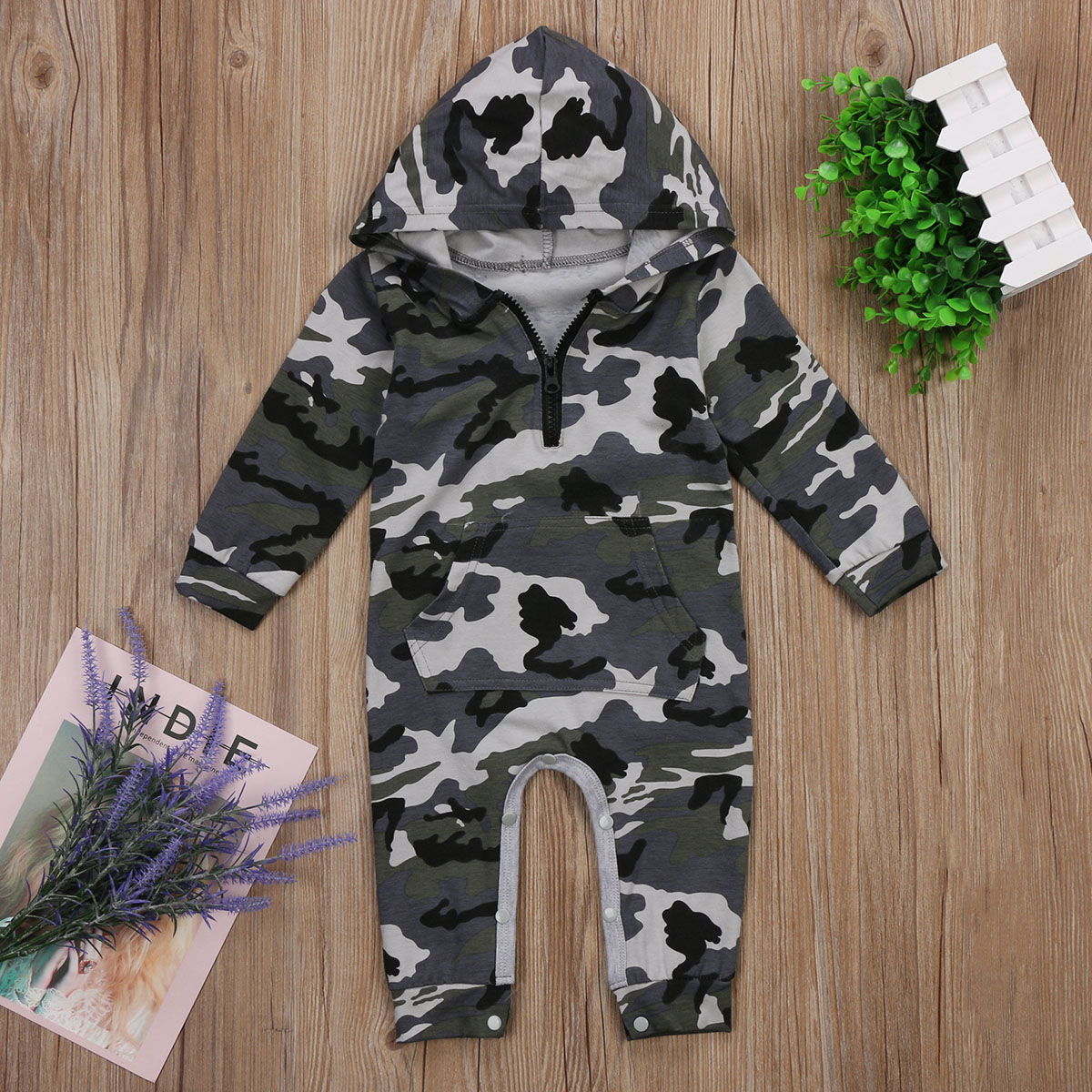 Newborn Baby Boy Girls Hooded Camouflage Cotton Romper Jumpsuit Playsuit One-Pieces Outfits Clothes
