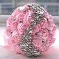 Flores Do Casamento Noivas Bouquets Artificial Rosa Vermelha quente Luxo Diamante de Cristal Bling Do Casamento Noivas Bouquet Ramo De Novia