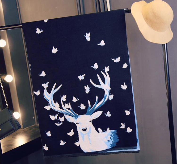 Deer Pashmina-Dark Blue