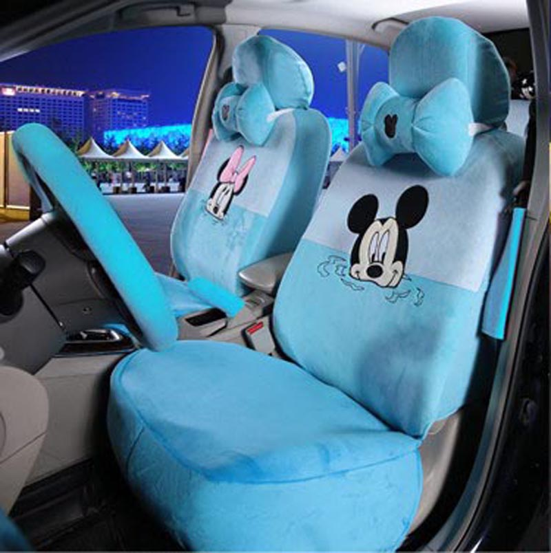 15PCS Luxury Winter Short Plush Cute Cartoon Universal Car Seat Cover Mickey Monkey Cow Fire Leopard Interior Accessories In Automobiles Covers