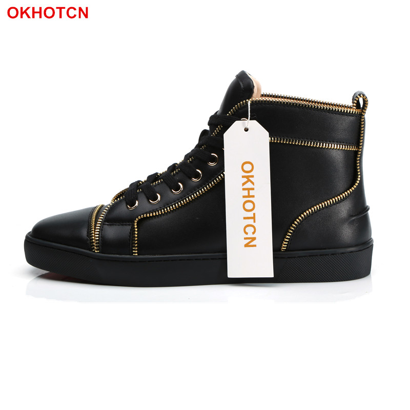 Lace Up Mens Shoes Casual Luxury Shoes Men Gold Zipper Bordered Mens Black High Tops Sneakers Spring Autumn Mens Moccasins Shoes