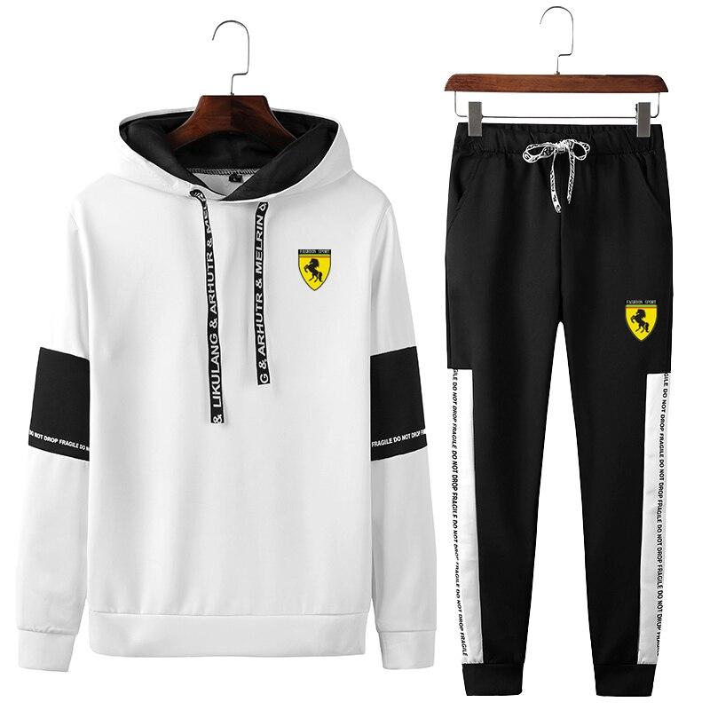 Men Hooded Gym TrackSuit Sport Jacket Coat Suit Set Trousers Pants Jogger Sweats Outfits