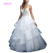 Sweetheart Straps Layer Organza Wedding Dress 2019 Button Back Ball Gown Princess Bridal Dress Long Lace Applique robe de mariee