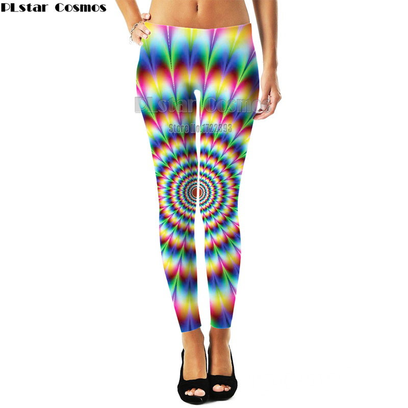 PLstar Cosmos Plus Size Womens Sexy Leggings Hypnosis Swirl 3D Printed Leggings Hypnotize Workout Leggings Pants Fitness Legging