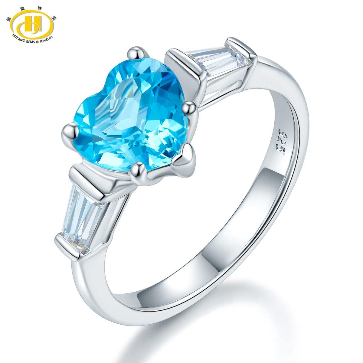 Здесь можно купить  Hutang New Arrival Genuine Swisss Bule Topaz Heart Ring Solid 925 Sterling Silver Gemstone Jewelry Wedding Women Gift  Ювелирные изделия и часы