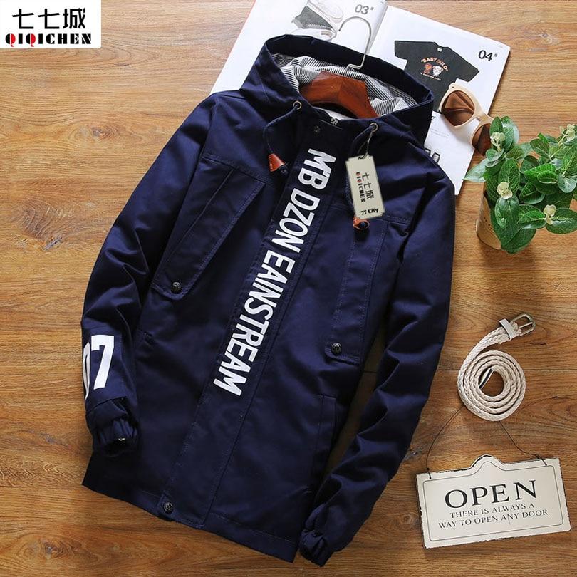 Army Jacket Men Hooded Jacket Male Letter Men Jacket Coats 2018 New Fashion Causal Plus Size 5XL Zipper Men Coat 3 Colors