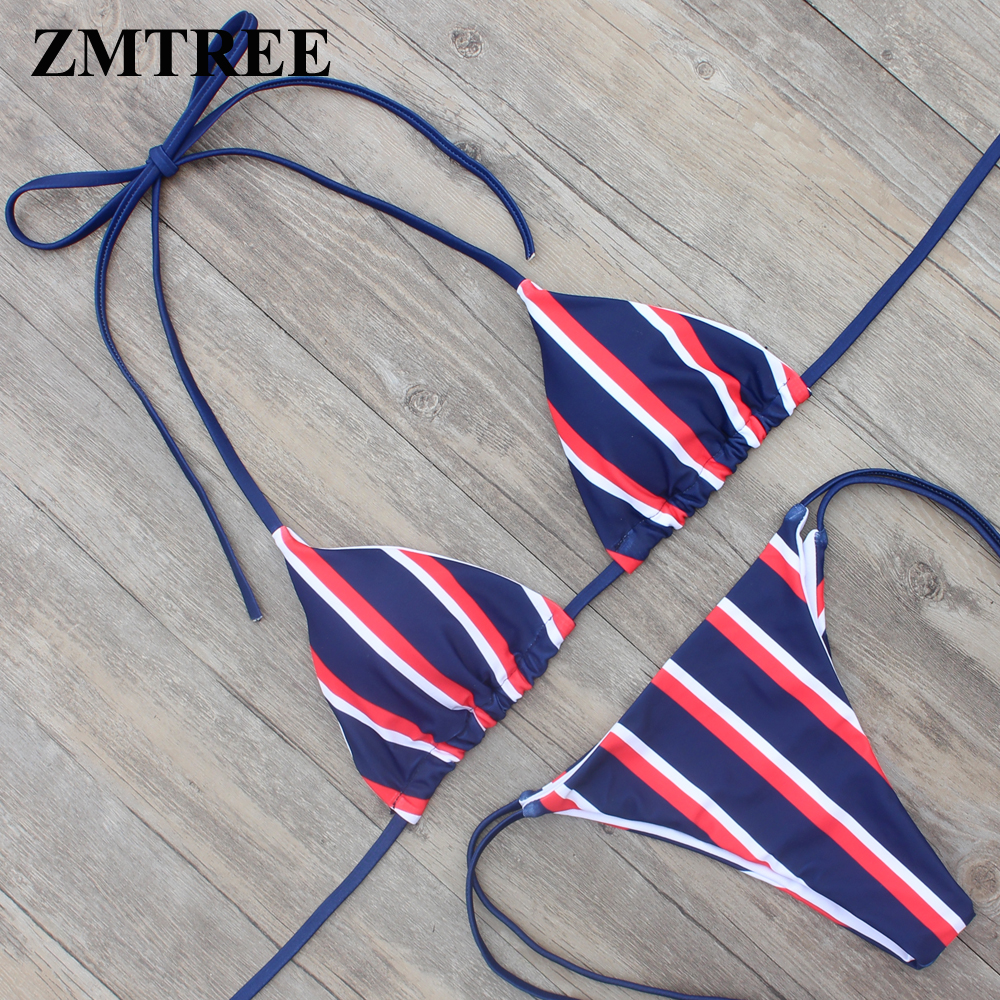 ZMTREE 2018 Bikini Women Swimsuit Stripped Swimwear Sexy Bathing Suit Beach Wear Halter Top Biquini Brazilian Bikinis Set Femme ...