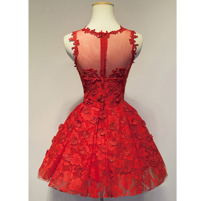 2016 Sheer Lace Maid of Honer Red Appliques Lace wedding Guest dress Homecoming Cocktail Party Dress short