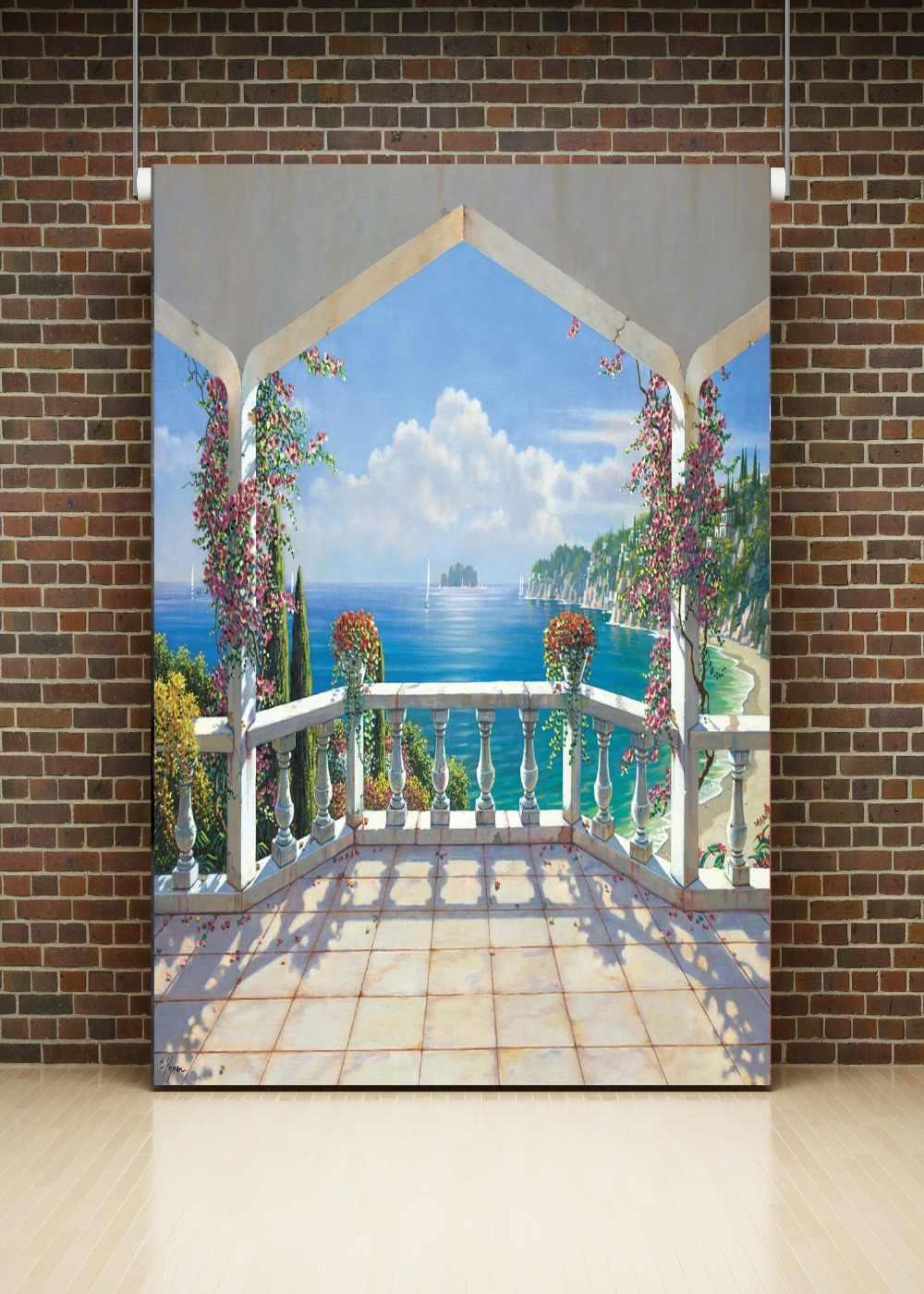 DePhoto 海辺宮殿パビリオンガーデン風景写真写真スタジオの背景の結婚式のカスタム写真の背景の小道具