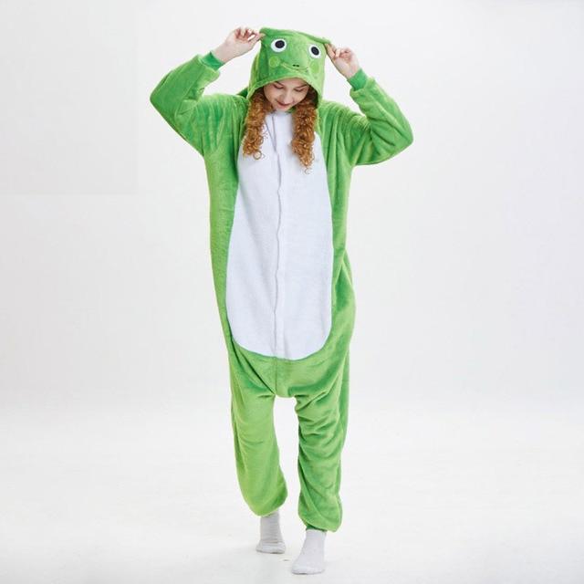 50e20c857906 Soft Green Frog Kigurumi For Adult Animal Onesie Men Jumpsuit Carnival  Pajamas For Women Suit Sleepwear Halloween Cosplay Party