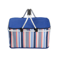 Basket Large Cooler Bag Foldable Insulated Bag 600D Thicken Cooler Box Food Packing Container Big Lunch Bags Thermal Ice Pack