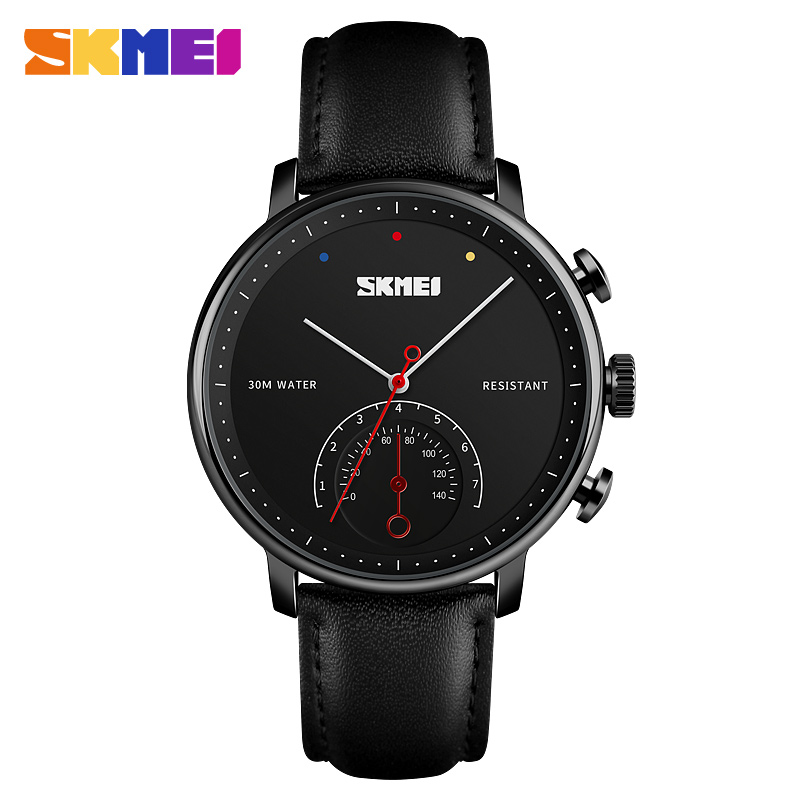 2019 New Fashion <font><b>SKMEI</b></font> Luxury Watches Men Watch Leather Watches Alloy Waterproof Quartz Wristwatches Man Clock Relogio Masculino image