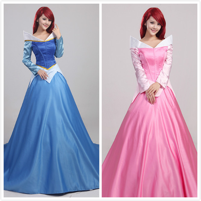 Adult The Sleeping Beauty Aurora Blue And Pink Princess Dress Halloween Cosplay Women Sweet Costumes Evening Garment