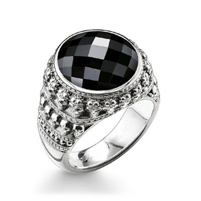 925 Sterling Silber Miniatur Schädel Surround Oval Onyx Stein Schädel Ringe, die meisten Mode Skeleton Ring Schmuck Geschenk für Frauen Männer