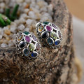 925 Sterling Silver Earrings Colored Women Round earings S925 Silver boucle d'oreille Stud Earring