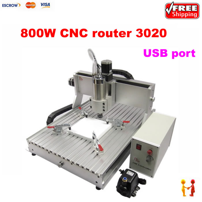 USB PORT Mach3 3 Axis 3020 800W CNC Router Engraver Engraving Machine For Hard Metal And Wood Glass Carving new usb mach3 three axis 4030z 3040 800w cnc router engraver engraving machine