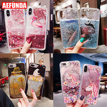 Luxury Bling Dynamic Liquid Quicksand Phone Case For iPhone X XS Max XR 8 7 6 6S Plus Flamingo Unicorn Bear Clear TPU Back Cover