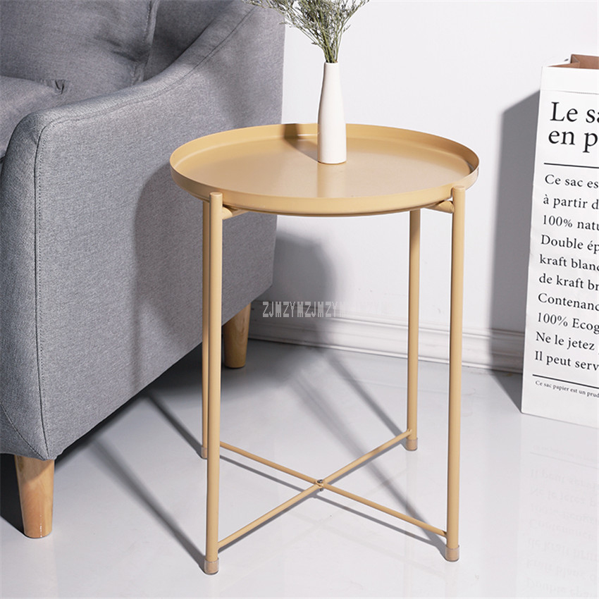 Us 16 18 13 Off Nordic Style Modern Metal Round Tray Small Tea Table Coffee Sofa Side Living Room Carbon Steel Simple Elegant Furniture In