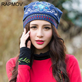 Fashion Female Winter Beanie Hat Ladies Girls Hats For Women National embroidery Beanies Fluff Caps Russia Skullies Touca Cap