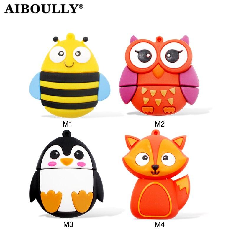 AIBOULLY 2.0 Animal Usb Stick USB Drive Flash Memory Stick Pendrive Owl U Disk Fox Bee Penguin 4GB 8GB 16GB 32GB 64GB Mini Gift