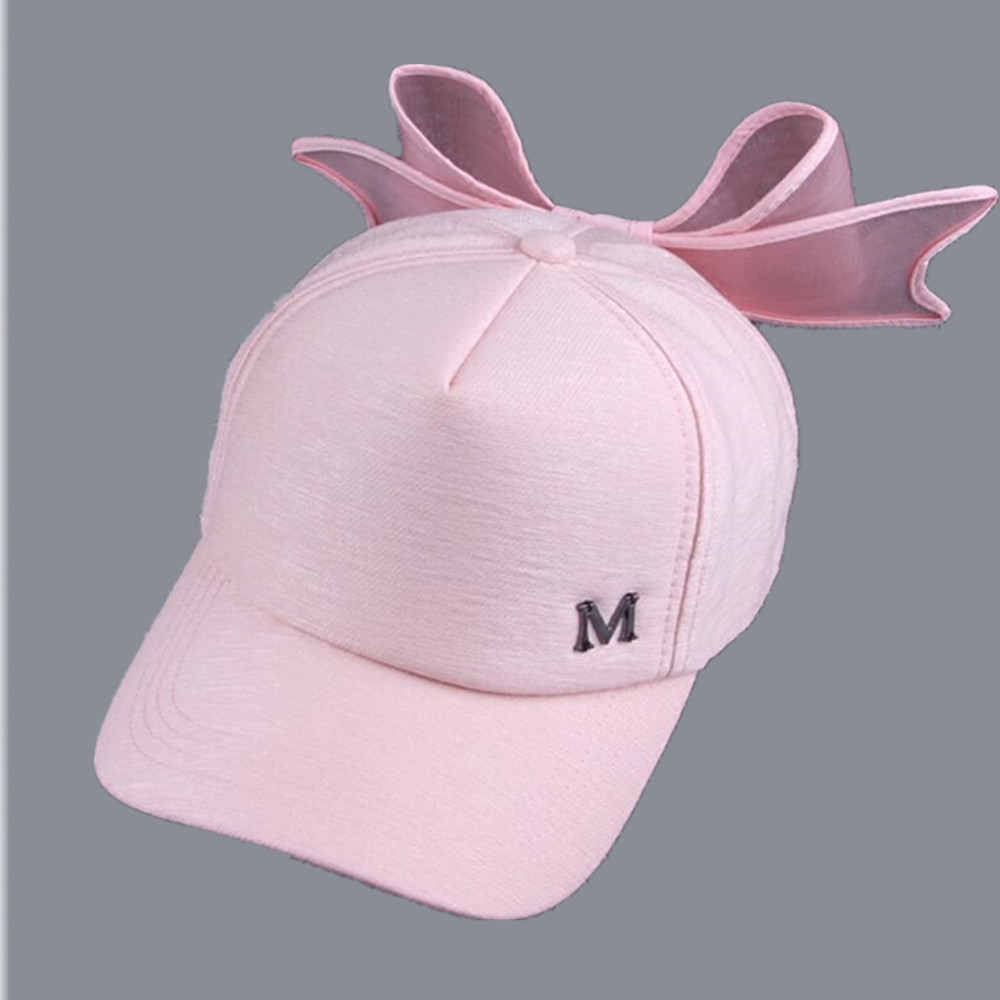 2017 new summer HOT Korea Spring Cap M mark Pink Hat with big bow Bending brimmed hat has baseball caps Visor women sun hats 2017 new fashionable cute soft black grey pink beige solid color rabbit ears bow knot turban hat hijab caps women gifts