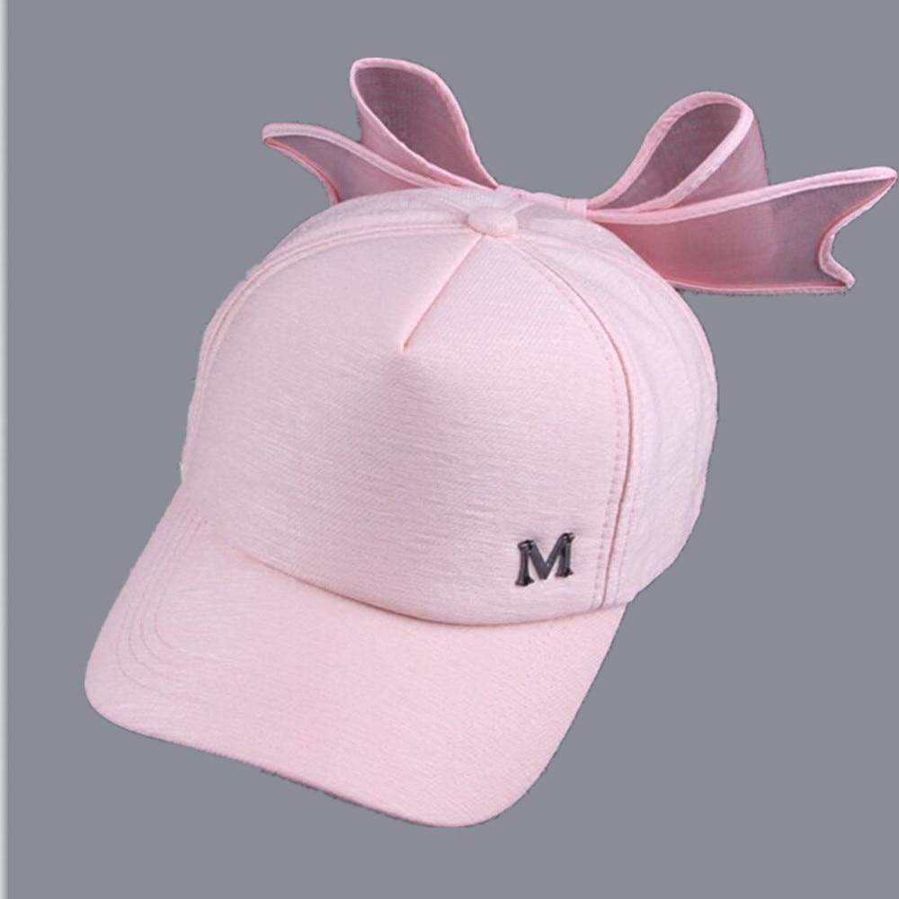 2017 new summer HOT Korea Spring Cap M mark Pink Hat with big bow Bending brimmed hat has baseball caps Visor women sun hats