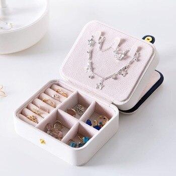 PU Leather Portable Jewerly Box Fashion Jewerly Organizer Jewelry Ring Necklace Storage Box Desktop Drawer