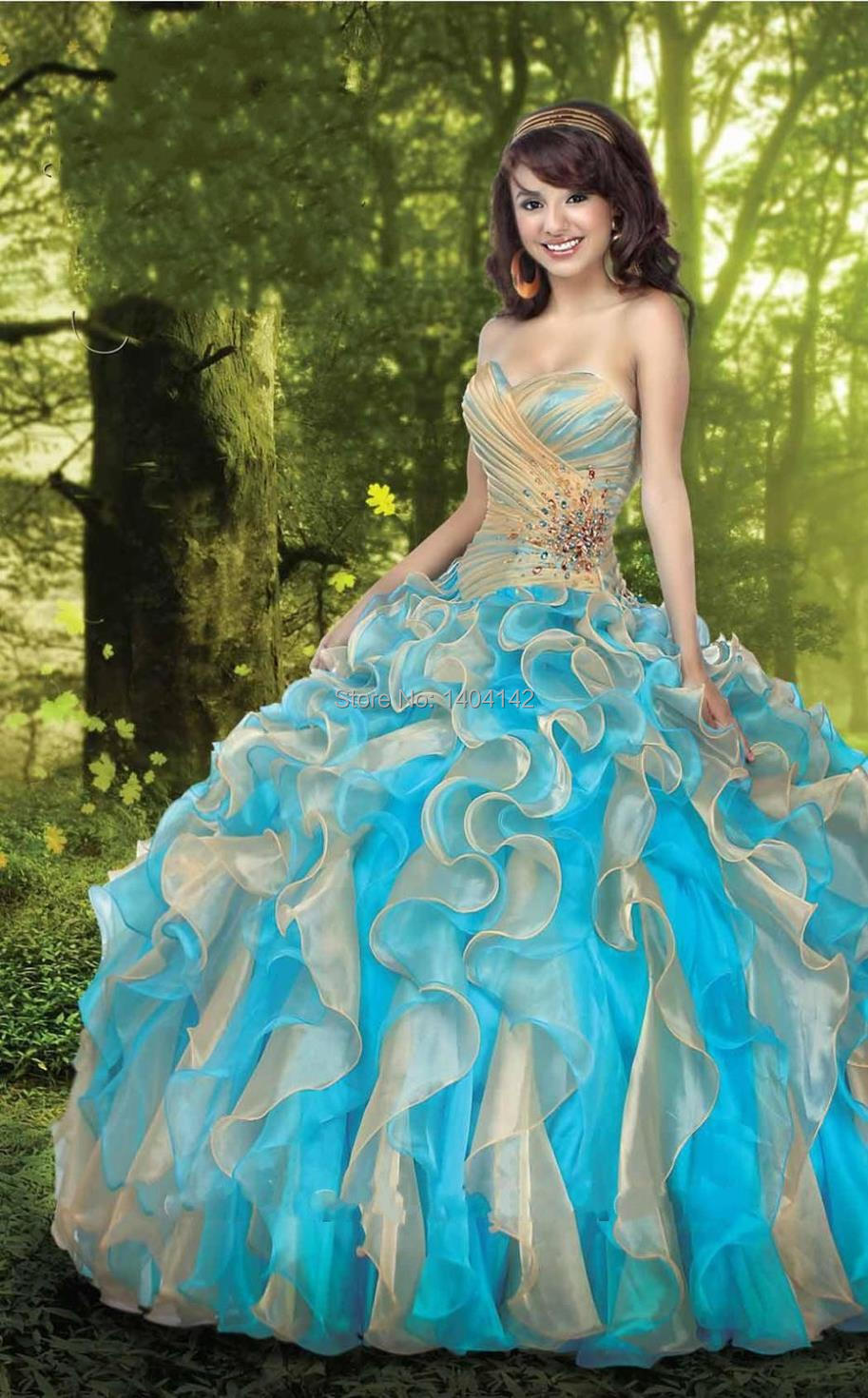Dresses quinceanera blue and gold catalog photo