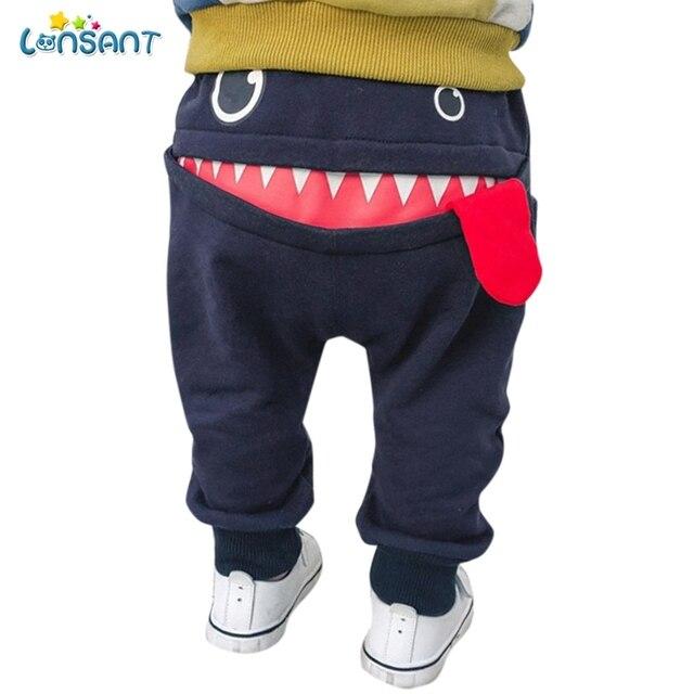 LONSANT Thời Trang Mùa Đông Bé Quần cô gái chàng trai 3D Phim Hoạt Hình Cá Mập Lưỡi Dài quần Quần Bó Sát Quần Trang Phục Toddler trẻ em quần