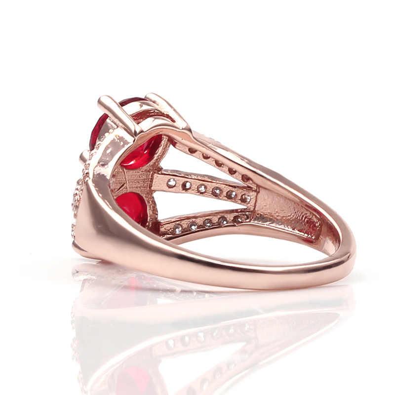 Belleza dos de moda rojo azul verde colores piedra circonita amor señora anillo mujeres Día de San Valentín regalos de alta calidad para mujer