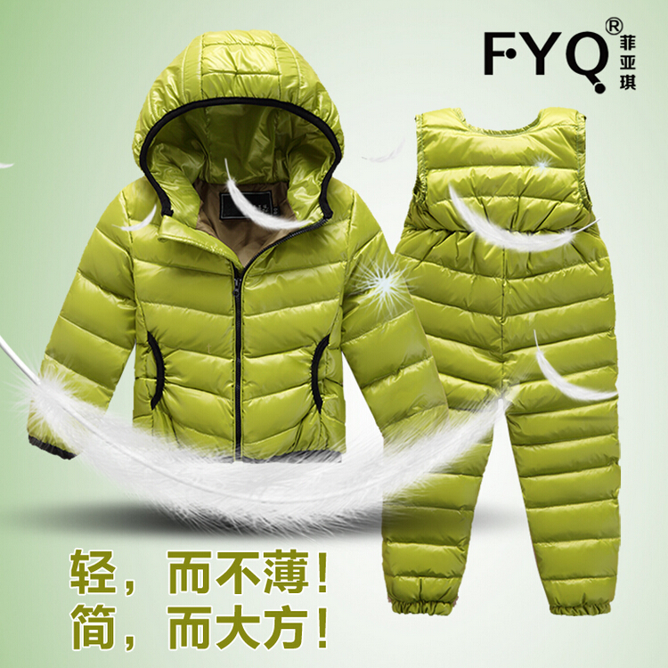 Children Snowsuit  Winter Clothing Set Down Jacket + Down Overalls Pants Baby Girls Outfits Kids Suit Clothes For Baby Boys 2016 winter boys ski suit set children s snowsuit for baby girl snow overalls ntural fur down jackets trousers clothing sets