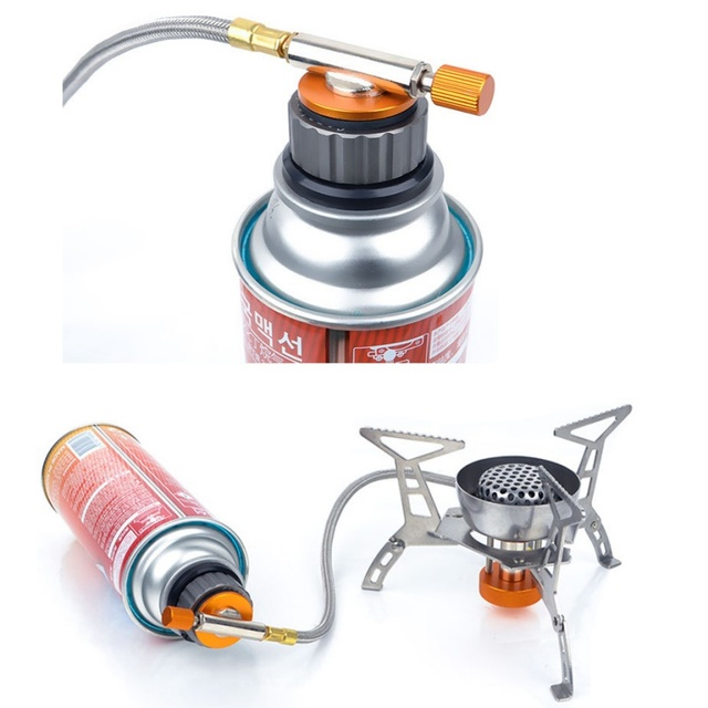 Outdoor Stove Burn Adaptor Split Type Furnace Converter Connector Auto-off Gas Cartridge Tank cylinder Adapter Camping Hiking