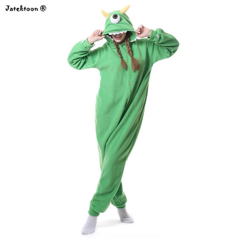 Green Monster Mr.Q Mike Wazowski Big Eye Cosplay Onesie Costume Fleece Jumpsuit One Piece Sleepwear Halloween Costumes